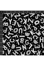 Studio E Fabrics B & W with a Touch of Bright - Tossed Alphabet B&W