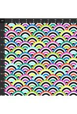 Studio E Fabrics B & W with a Touch of Bright - Rainbow Multi