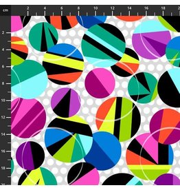Studio E Fabrics B & W with a Touch of Bright - Large Circles Black Multi
