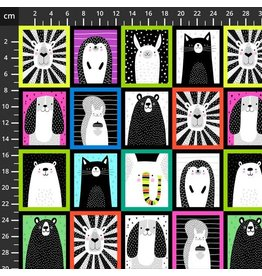 Studio E Fabrics B & W with a Touch of Bright - Animal Patchwork Black Multi