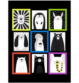 Studio E Fabrics Black & White with a touch of Bright - Panel