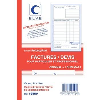 ELVE Carnet Factures/Devis Auto-entrepreneurs Autocopiant 21 x 14 cm