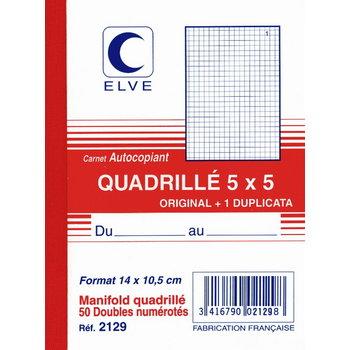 ELVE Carnet quadrillé 5x5 14 x10,5 cm- 50 feuillets dupli