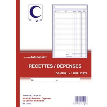 """ELVE Carnet """"Recettes dépenses"""" Autocopiant - Format A4 -50 feuilles"""