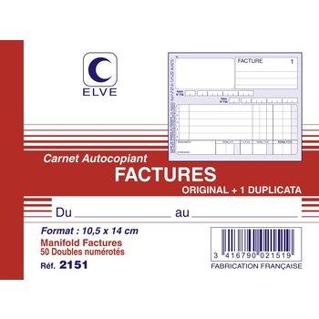 ELVE Carnet factures 10,5 x 14 cm 50 feuillets dupli