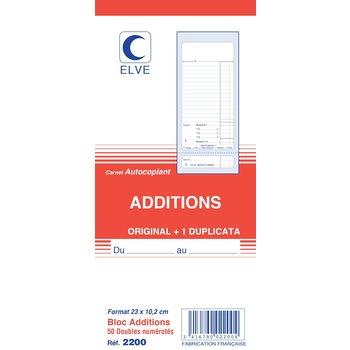 ELVE Carnet additions numéroté 23,5 x10,2 cm 50 feuillets dupli