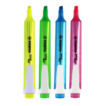 STABILO Pochette x 4 surligneurs swing cool - jaune + bleu + vert + rose