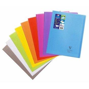 CLAIREFONTAINE Koverbook Cahier piqué grands carreaux  couverture polypropylène - 24x32 cm -  48 pages - Coloris aléatoires