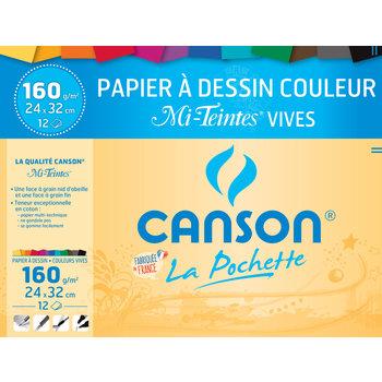 CANSON Pochette Canson® Papier Dessin Couleur mi-Teintes® Vives 24X32Cm 12Fl 160G/m²