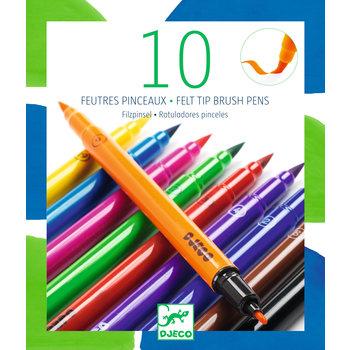 DJECO Les couleurs - Pour les grands 10 feutres pinceaux - Classique