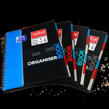 OXFORD Cahier Organiserbook Polypropylène avec trieur intégré - 160 pages - 90 g - 245 x 310 mm - Grands carreaux
