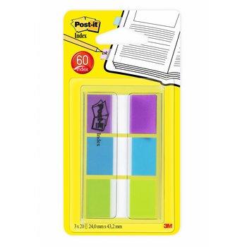 POST-IT Marque-pages Post-it® standard souples, assortiment de couleurs (vert, bleu, violet) 3 x 20 / pack