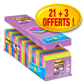 POST-IT Pack Avantages Notes Super Sticky Post-it® couleurs assorties, 76 x 76 mm, 24 blocs dont 3 offerts