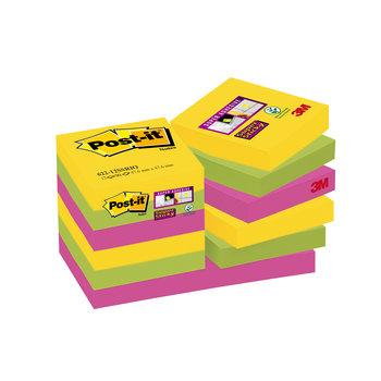 POST-IT Notes Super Sticky Post-it® Couleurs Rio, 47,6 x 47,6 mm, 12 blocs