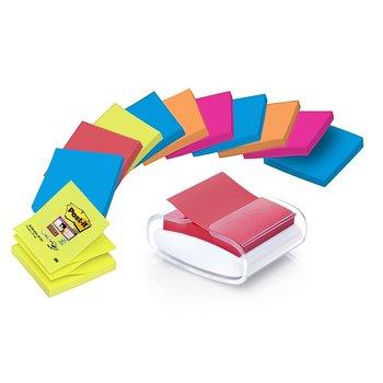 POST-IT Dévidoir Pro Blanc Z-Notes Super Sticky Post-it® + 12 blocs Couleurs assorties 76 x 76 mm