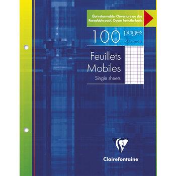 CLAIREFONTAINE Feuilles mobiles petits carreaux - 17x22 cm - 100 pages