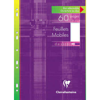 CLAIREFONTAINE Feuillets mobiles dessin 125g - 21x29,7 cm - 60 pages
