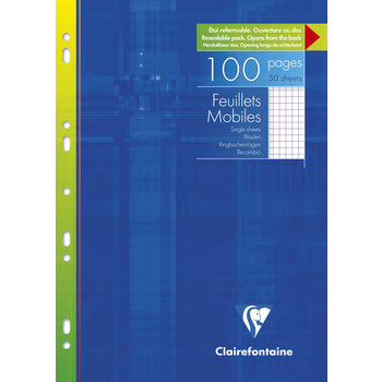 CLAIREFONTAINE Feuilles mobiles petits carreaux - 21x29,7 cm - 100 pages