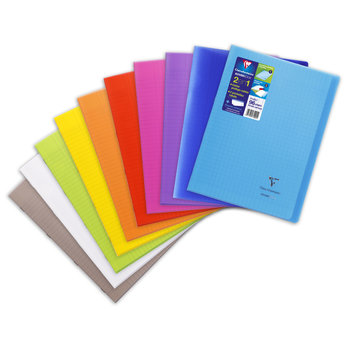 CLAIREFONTAINE Koverbook Cahier piqué grands carreaux couverture polypropylène - 21x29,7 cm - 96 pages - Coloris aléatoires