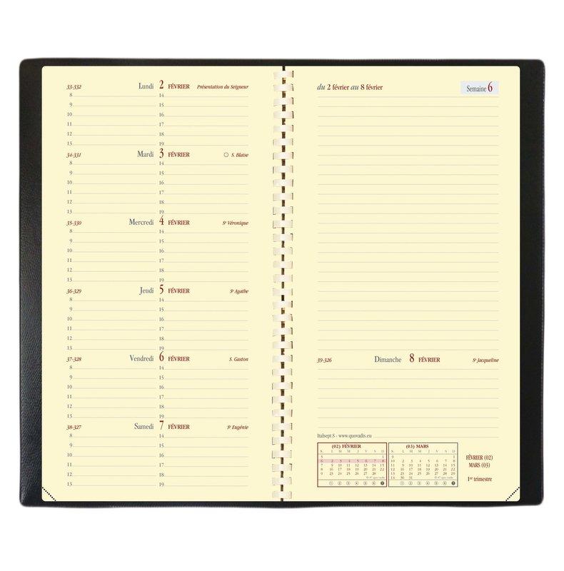 QUO VADIS Agenda scolaire semainier horizontal et notes Italsept S rep Soho 8,8x17cm bleu ardoise