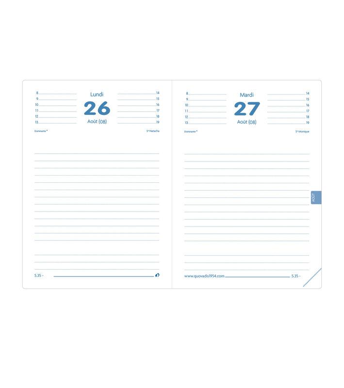 QUO VADIS Agenda scolaire 1 jour par page Textagenda Toscana 12x17cm noir