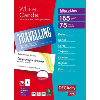 APLI Pochette 75 cartes de visite blanches MicroLine - 185g