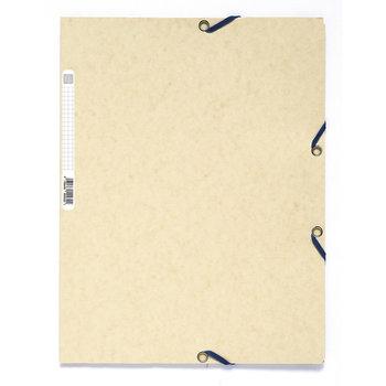 EXACOMPTA Chemise 3 rabats à élastiques carte lustrée 400g/m2 - A4 - ivoire