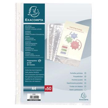 EXACOMPTA Sachet de 50 pochettes perforées polypropylène lisse 6/100e - A4 - Cristal
