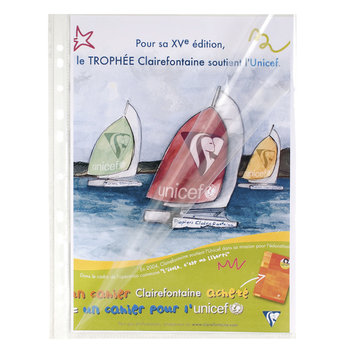 EXACOMPTA Sachet de 10 pochettes perforées ouverture haut et côté - polypropylène lisse 6/100e - A4 - Cristal