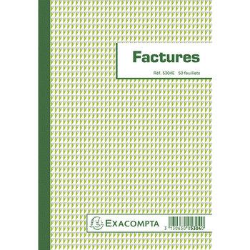 EXACOMPTA Blocs Factures 50 feuilles - Format 21x14,8 cm