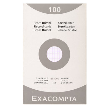EXACOMPTA Étui de 100 fiches - bristol quadrillé 5x5 non perforé 125x200mm - Blanc