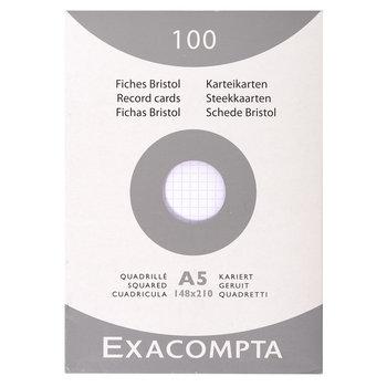 EXACOMPTA Étui de 100 fiches - bristol quadrillé 5x5 non perforé 148x210mm - Blanc