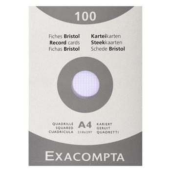 EXACOMPTA Étui de 100 fiches - bristol quadrillé 5x5 non perforé 210x297mm - Blanc