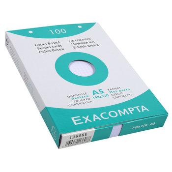 EXACOMPTA Étui de 100 fiches - bristol quadrillé 5x5 perforé 148x210mm - Blanc