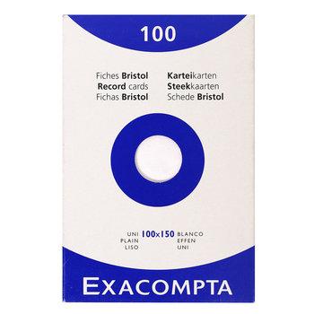 EXACOMPTA Étui de 100 fiches - bristol uni non perforé 100x150mm - Blanc