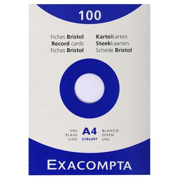 EXACOMPTA Étui de 100 fiches - bristol uni non perforé 210x297mm - Blanc