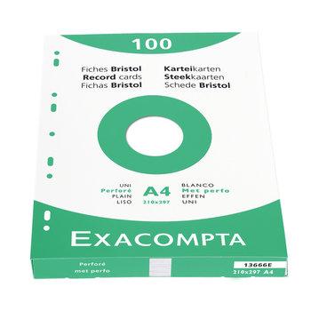 EXACOMPTA Étui de 100 fiches - bristol uni perforé 210x297mm - Blanc