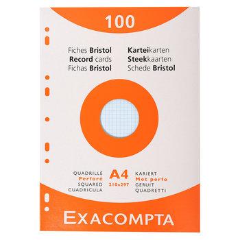 EXACOMPTA Étui de 100 fiches - bristol quadrillé 5x5 perforé 210x297mm - Couleurs assorties