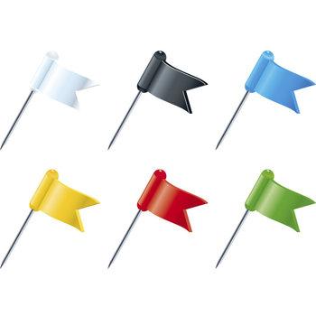 EXACOMPTA Boîte de 20 épingles drapeaux - Hauteur de pointe 16mm - Couleurs assorties