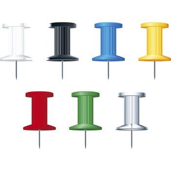 EXACOMPTA Boîte de 25 épingles Push Pins - Hauteur de pointe 7mm - 10mm de diamètre - Couleurs assorties
