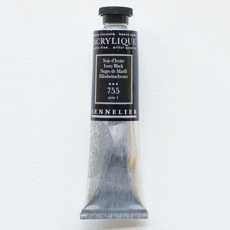 SENNELIER Acrylique Extra fine Tube 60ml Noir d'Ivoire S1