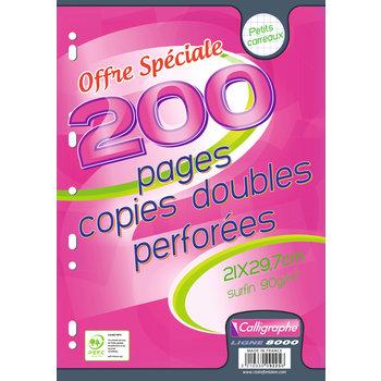 CALLIGRAPHE Copies doubles perforées A4 200 pages Q.5x5