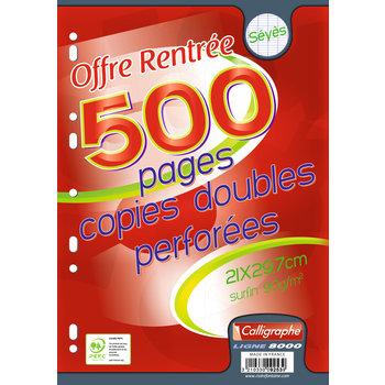 CALLIGRAPHE Copies doubles perforées  A4 500 pages Seyès