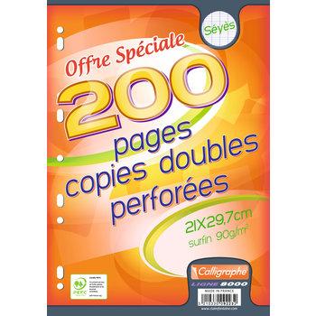 CALLIGRAPHE Copies doubles perforées A4 200 pages Séyès