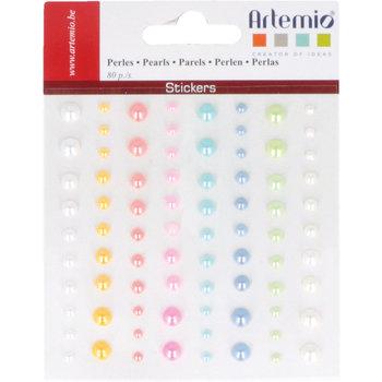 ARTEMIO Perles autocollantes couleur nacrées x80