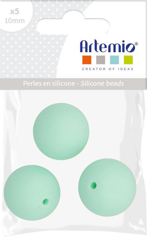 ARTEMIO 3X Perle Silicone Ronde 15Mm Vert D'Eau