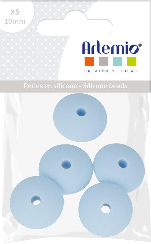 ARTEMIO 5X Perle Silicone Cabochon 12X7Mm Bleu Pastel