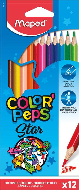 MAPED 12 crayons de couleur FSC COLOR'PEPS STAR en pochette carton