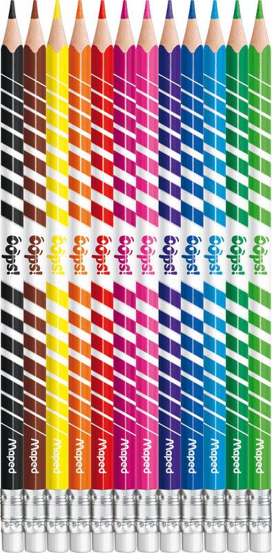 MAPED 12 crayons de couleur effaçables COLOR'PEPS OOPS en pochette carton