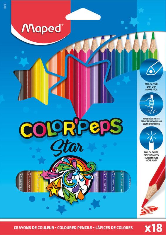 MAPED 18 crayons de couleur FSC COLOR'PEPS STAR en pochette carton